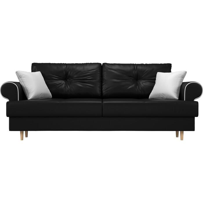 Прямой диван Лига Диванов Сплин экокожа черный подушки белые