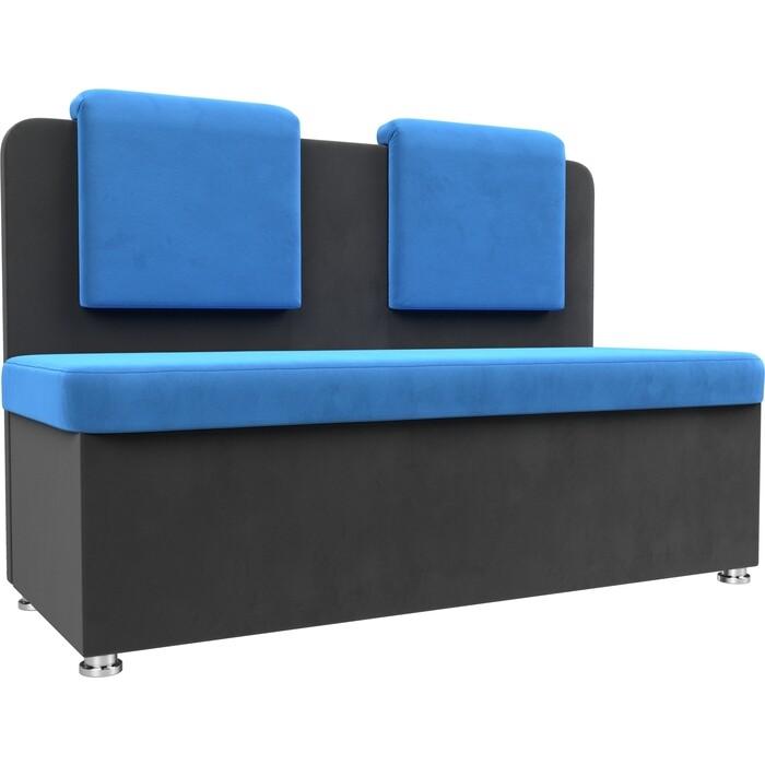 Кухонный прямой диван АртМебель Маккон 2-х местный велюр голубой/серый