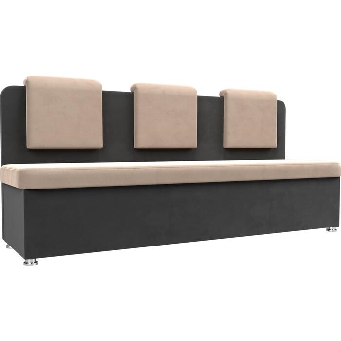 Кухонный прямой диван АртМебель Маккон 3-х местный велюр бежевый/серый