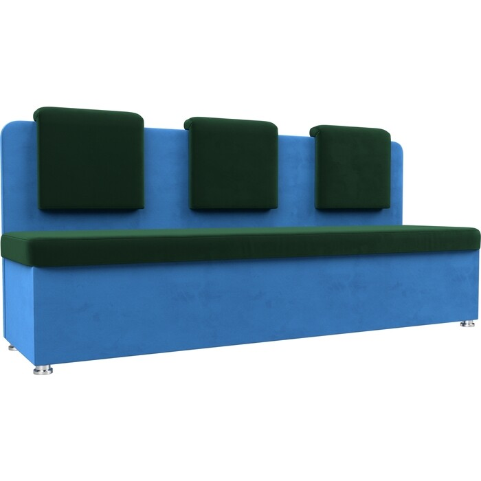 Кухонный прямой диван АртМебель Маккон 3-х местный велюр зеленый/голубой