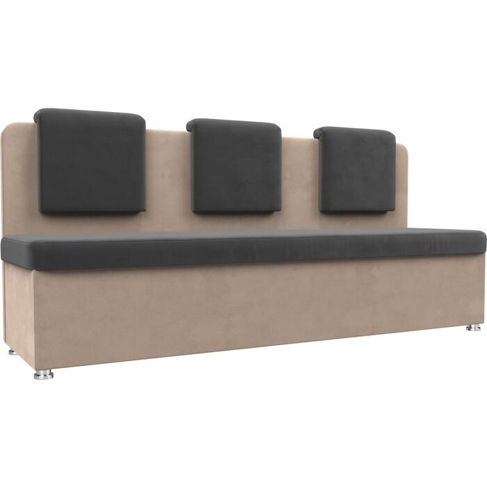 Кухонный прямой диван АртМебель Маккон 3-х местный велюр серый/бежевый