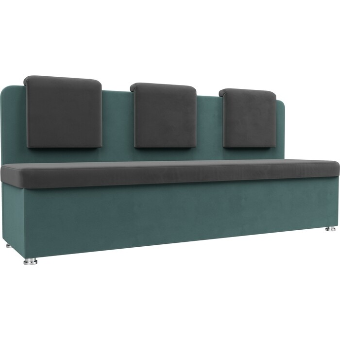 Кухонный прямой диван АртМебель Маккон 3-х местный велюр серый/бирюза