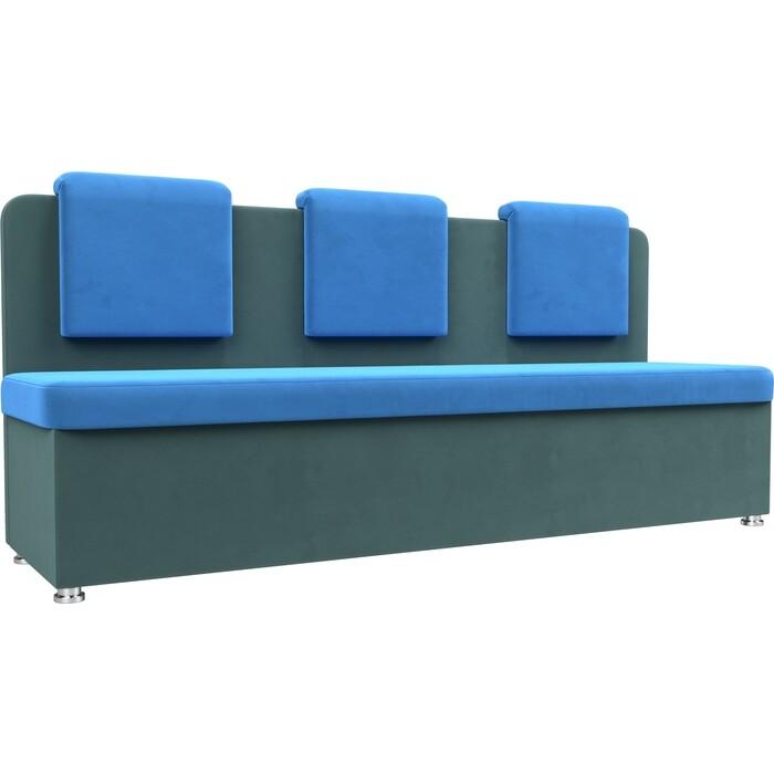 Кухонный прямой диван АртМебель Маккон 3-х местный велюр голубой/бирюза