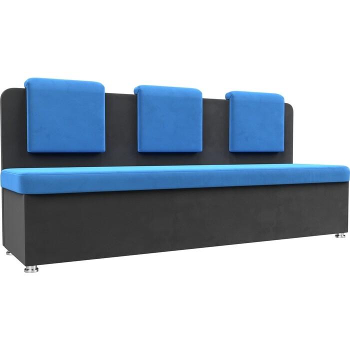 Кухонный прямой диван АртМебель Маккон 3-х местный велюр голубой/серый