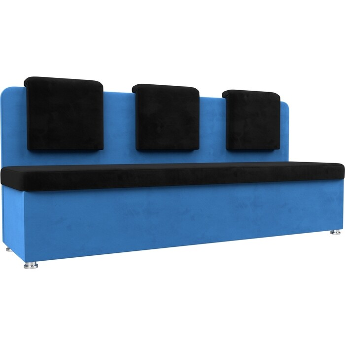 Кухонный прямой диван АртМебель Маккон 3-х местный велюр черный/голубой