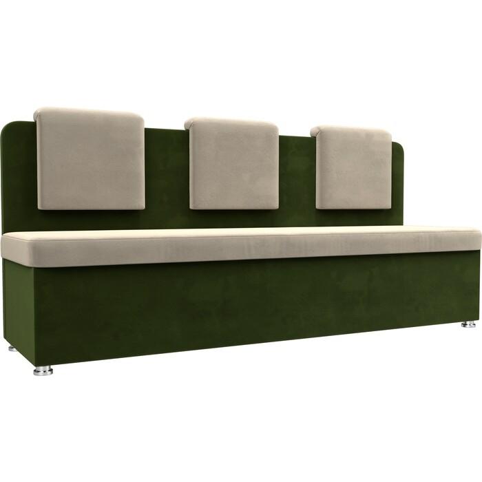 Кухонный прямой диван АртМебель Маккон 3-х местный микровельвет бежевый/зеленый
