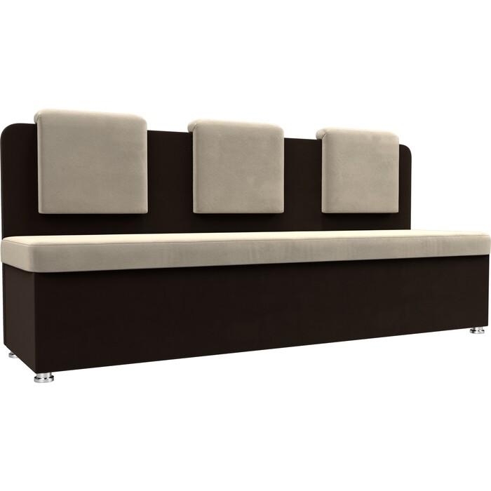 Кухонный прямой диван АртМебель Маккон 3-х местный микровельвет бежевый/коричневый