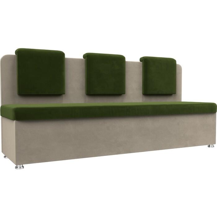 Кухонный прямой диван АртМебель Маккон 3-х местный микровельвет зеленый/бежевый
