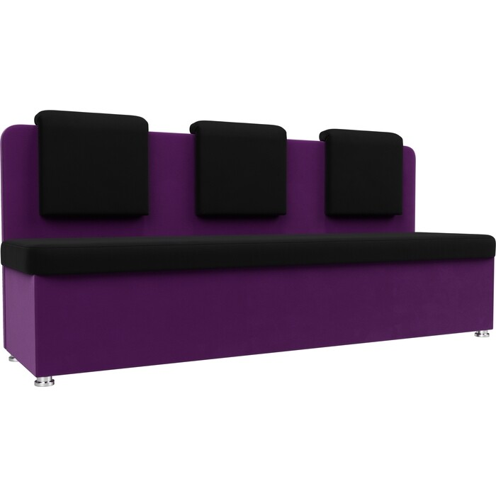Кухонный прямой диван АртМебель Маккон 3-х местный микровельвет черный/фиолетовый