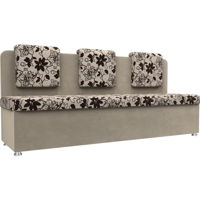 Кухонный прямой диван АртМебель Маккон 3-х местный рогожка на флоке вельвет бежевый