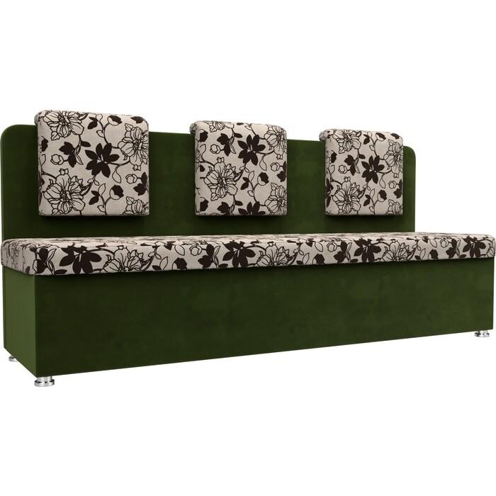 Кухонный прямой диван АртМебель Маккон 3-х местный рогожка на флоке вельвет зеленый