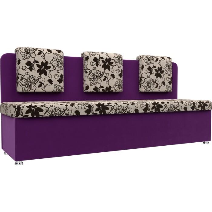 Кухонный прямой диван АртМебель Маккон 3-х местный рогожка на флоке вельвет фиолетовый
