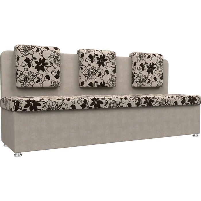 Кухонный прямой диван АртМебель Маккон 3-х местный рогожка на флоке бежевый