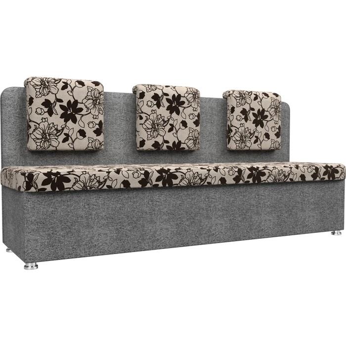 Кухонный прямой диван АртМебель Маккон 3-х местный рогожка на флоке серый
