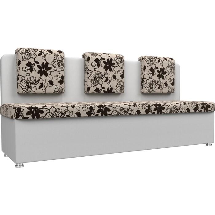 Кухонный прямой диван АртМебель Маккон 3-х местный рогожка на флоке экокожа белый