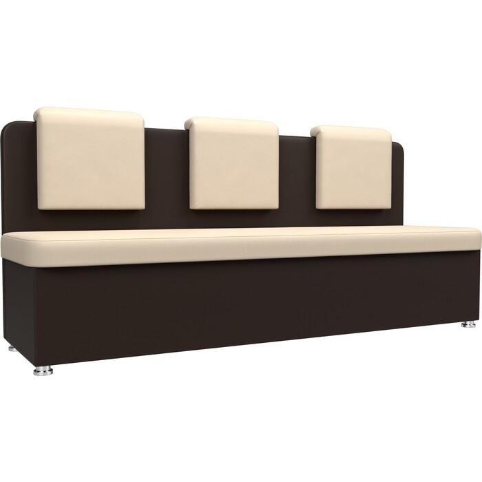 Кухонный прямой диван АртМебель Маккон 3-х местный экокожа бежевый/коричневый