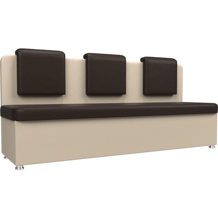 Кухонный прямой диван АртМебель Маккон 3-х местный экокожа коричневый/бежевый