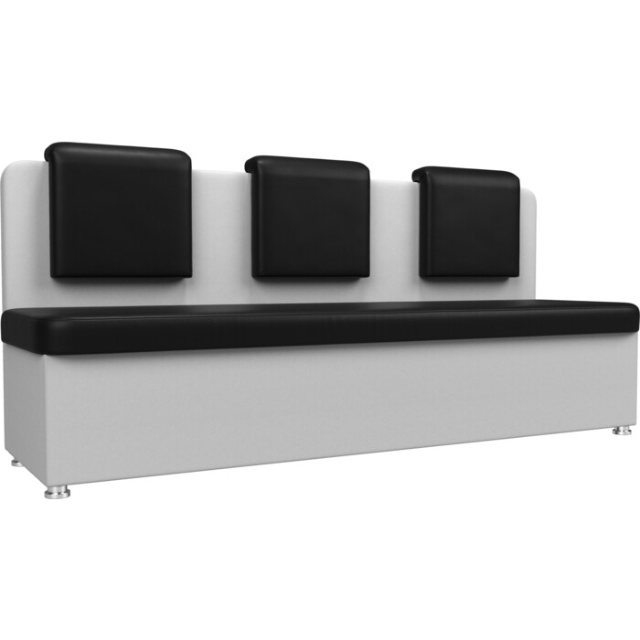 Кухонный прямой диван АртМебель Маккон 3-х местный экокожа черный/белый