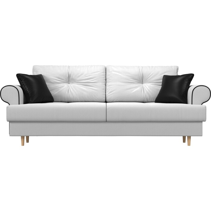 Прямой диван Лига Диванов Сплин экокожа белый подушки черные