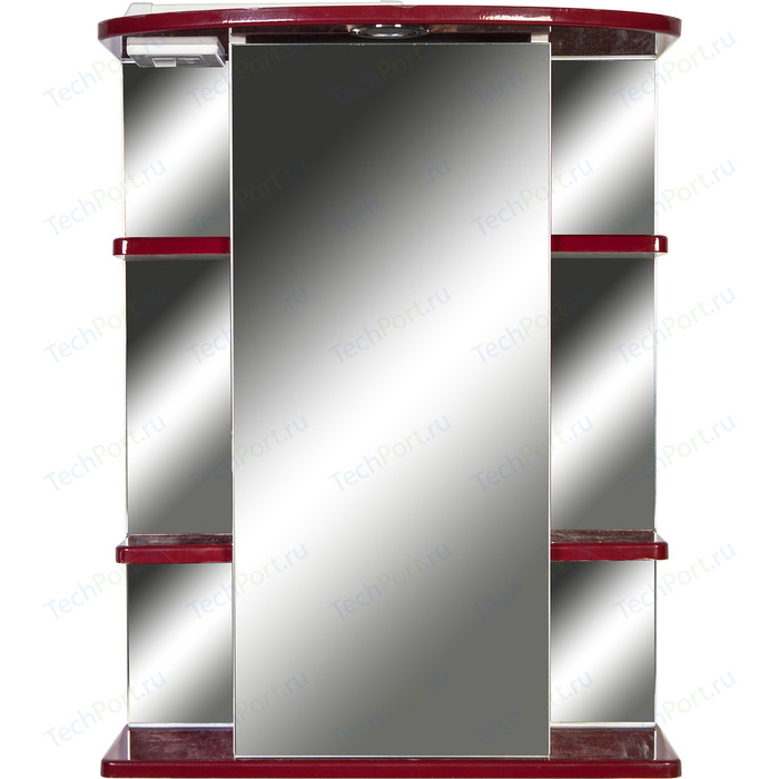 Зеркало-шкаф Orange Кларис 55 с подсветкой, бордовое, правый (Kl-55ZSC)