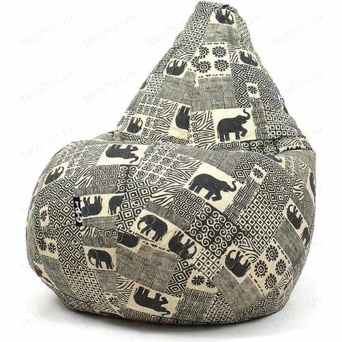 Кресло мешок GoodPoof Груша жаккард слоны XL