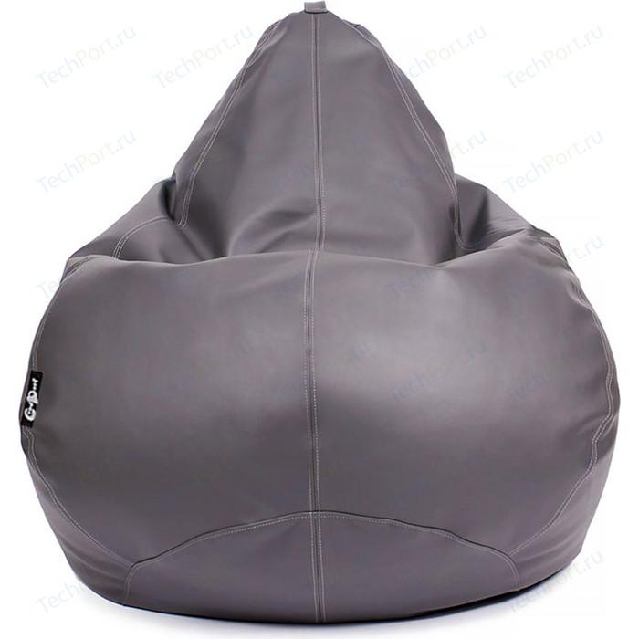 Кресло мешок GoodPoof Груша экокожа премиум серая 3XL