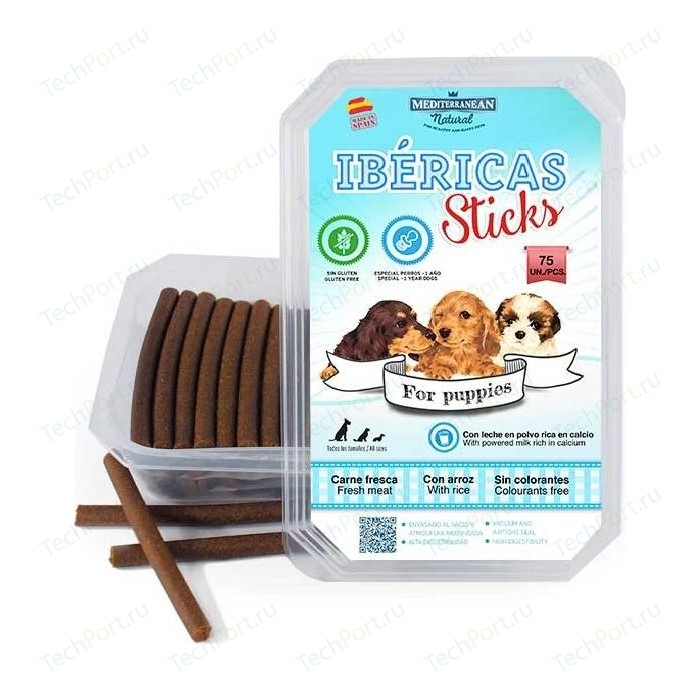 Лакомство MEDITERRANEAN IBERICAS Sticks For Pappies Fresh Meat палочки из свежего мяса для щенков 900г (75шт)