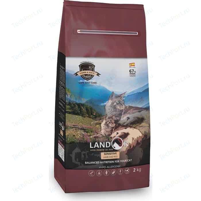 Сухой корм LANDOR Sensitive Lamb and Rice гипоаллергенный с ягнёнком и рисом для кошек с чувствительным пищеворением 10кг сухой корм landor kitten duck and rice гипоаллергенный с уткой и рисом для котят 10кг