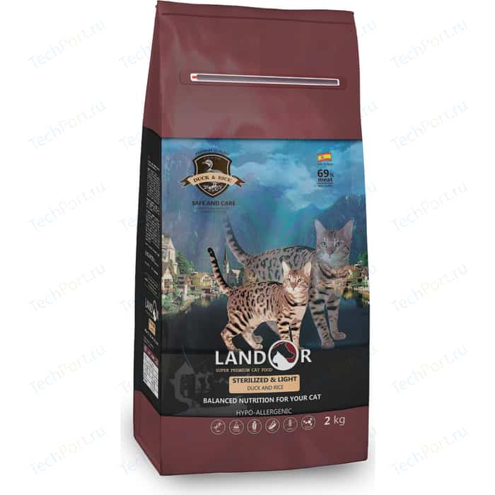 Сухой корм LANDOR Sterilized & Light Duck and Rice гипоаллергенный с уткой и рисом для стерилизованных избыточным весом кошек 2кг