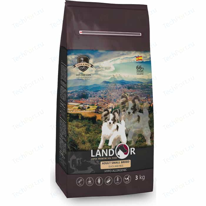 Сухой корм LANDOR Adult Small Breed Duck and Rice гипоаллергенный с уткой и рисом для взрослых собак мелких пород 1кг сухой корм landor kitten duck and rice гипоаллергенный с уткой и рисом для котят 10кг