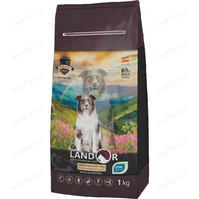 Сухой корм LANDOR Senior and Adult Dogs Improving Brain Activity гипоаллергенный с уткой и рисом для пожилых и взрослых собак всех пород 1кг сухой корм landor kitten duck and rice гипоаллергенный с уткой и рисом для котят 10кг