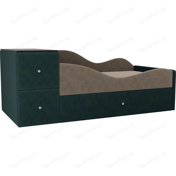 Детская кровать АртМебель Дельта велюр бежевый/бирюза правый угол