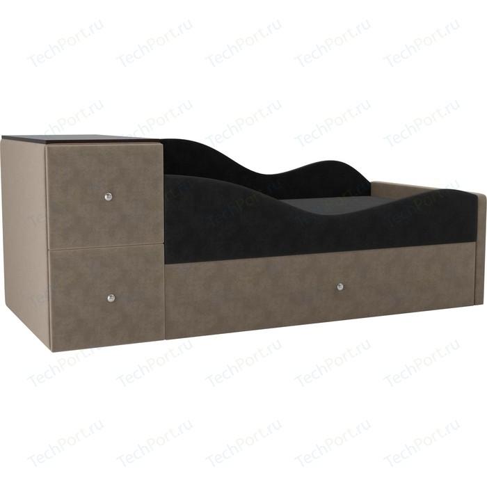 Детская кровать АртМебель Дельта велюр серый/бежевый правый угол