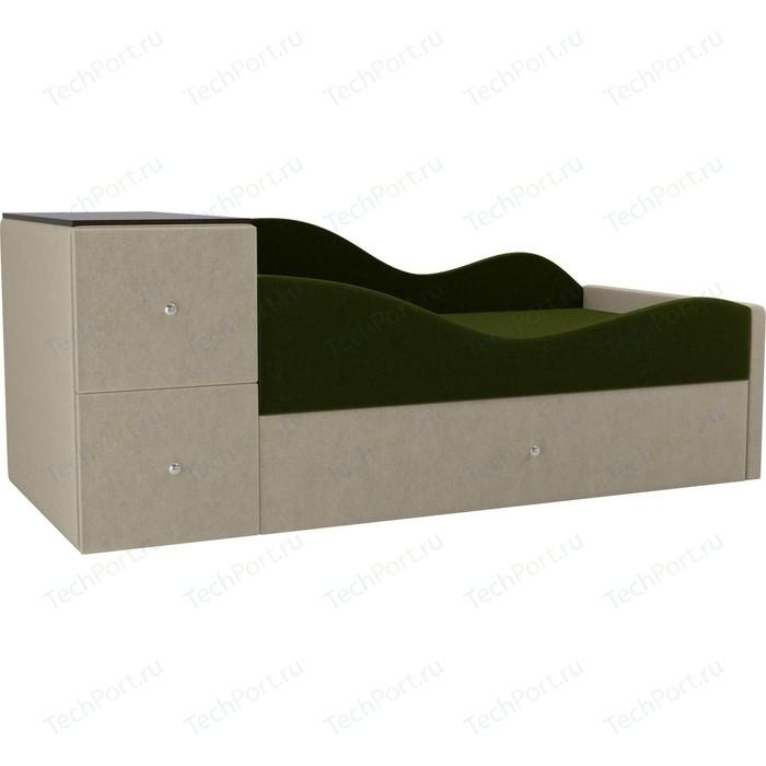 Детская кровать АртМебель Дельта микровельвет зеленый/бежевый правый угол
