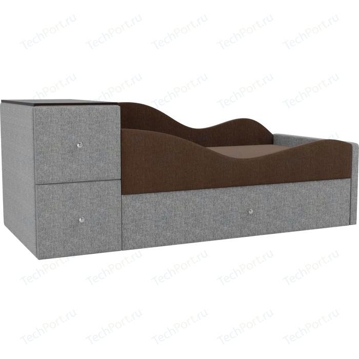 Детская кровать АртМебель Дельта рогожка коричневый/серый правый угол