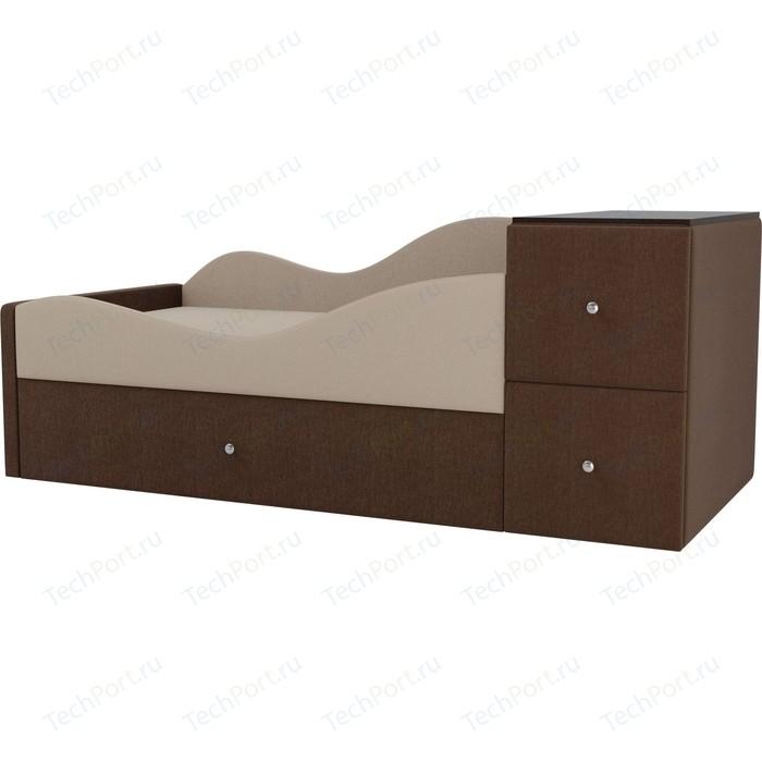 Детская кровать АртМебель Дельта рогожка бежевый/коричневый левый угол