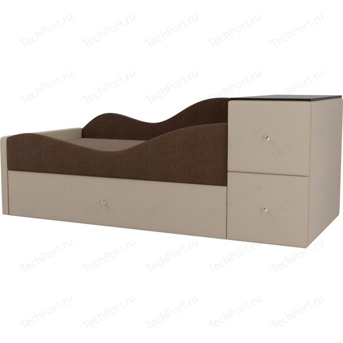 Детская кровать АртМебель Дельта рогожка коричневый/бежевый левый угол