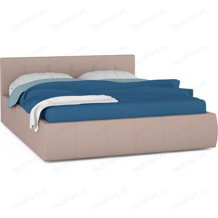 цена на Кровать интерьерная Нижегородмебель и К Афина подъемный ортопед, искусственная кожа бежевая