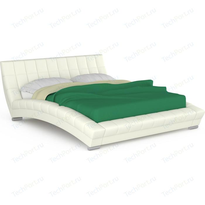 Кровать интерьерная Нижегородмебель и К Оливия ортопед, искусственная кожа белая