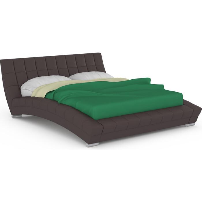 Кровать интерьерная Нижегородмебель и К Оливия ортопед, искусственная кожа темно-коричневая