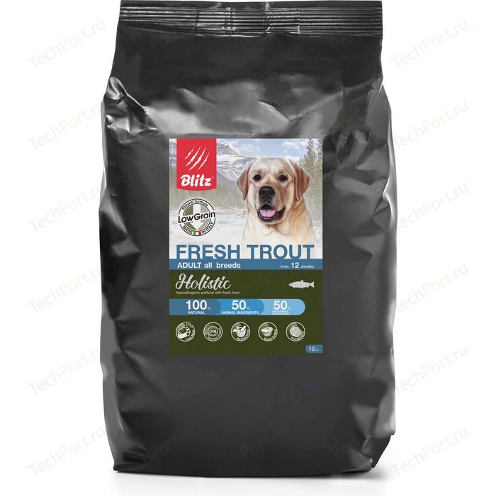Сухой корм Blitz Petfood Holistic Adult All Breeds Low Grain Fresh Trout низкозерновой с форелью для собак всех пород 12кг