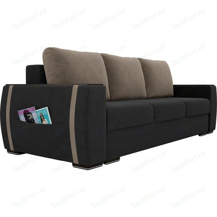 Прямой диван Лига Диванов Брион велюр серый, подушки бежевые