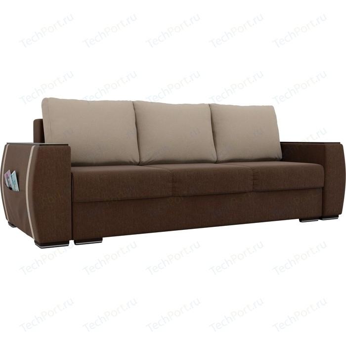 Прямой диван Лига Диванов Брион рогожка коричневый, подушки бежевые