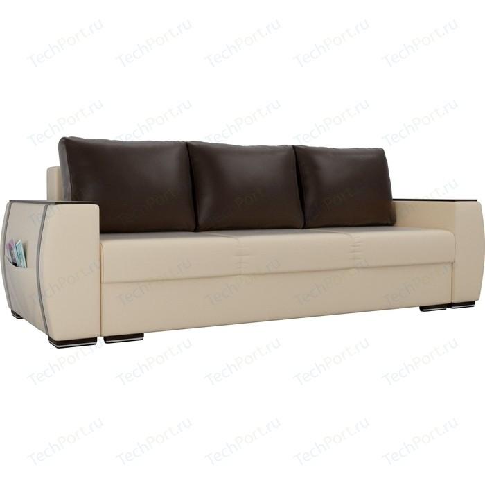 Прямой диван Лига Диванов Брион экокожа бежевый, подушки коричневые