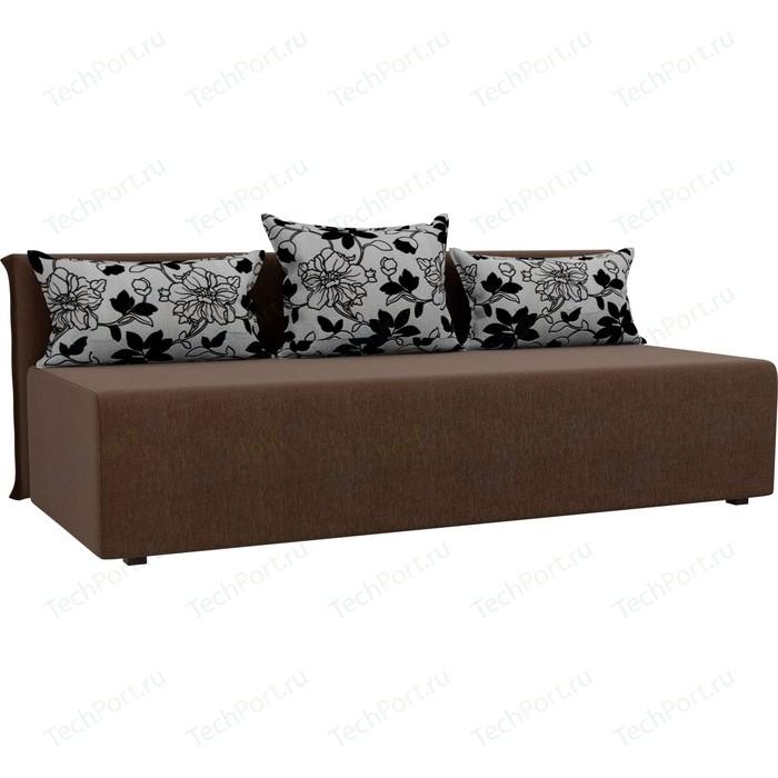 Прямой диван Лига Диванов Кесада рогожка коричневый