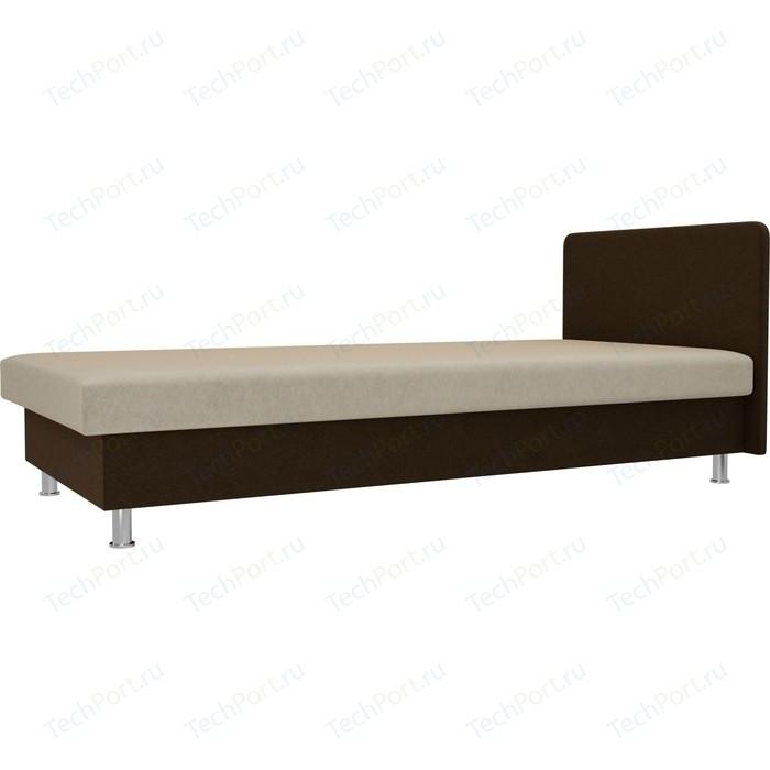 Кровать Лига Диванов Мальта микровельвет бежевый/коричневый