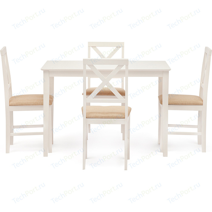 Обеденный комплект TetChair Хадсон (стол + 4 стула) / hudson dining set, дерево гевея/мдф, Ivory white, ткань кремовая (HE490-01)