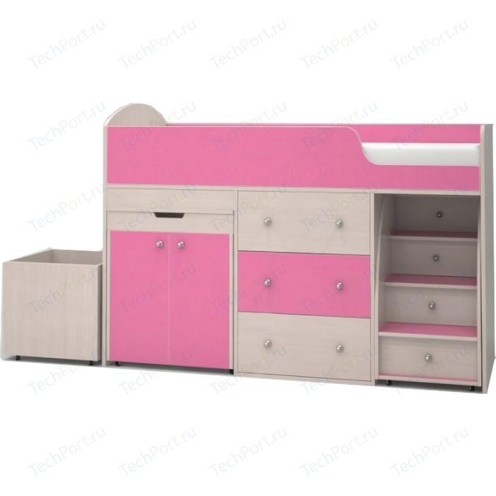 Кровать чердак Ярофф Малыш 80x180 дуб молочный/розовый