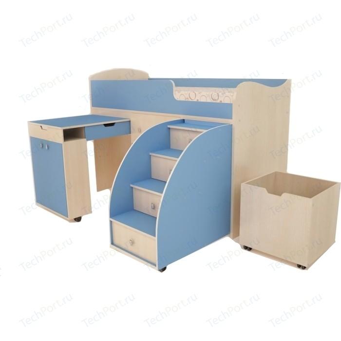 Кровать чердак Ярофф Малыш 70x160 дуб молочный/голубой