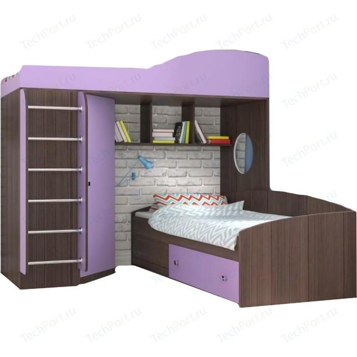 Кровать-чердак Ярофф Кадет 2 с металлической лестницей венге/ирис